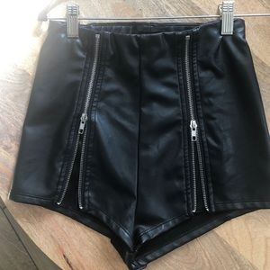 Forever 21 faux leather zip up shorts
